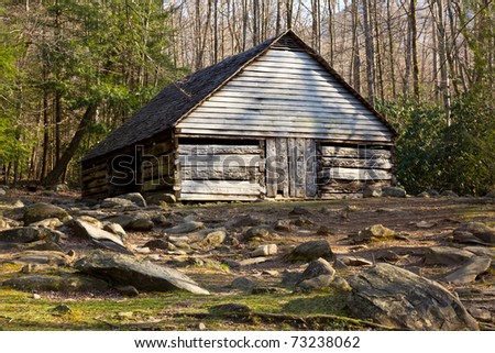 Ancient wooden barn in the Smoky Mountains - stock photo