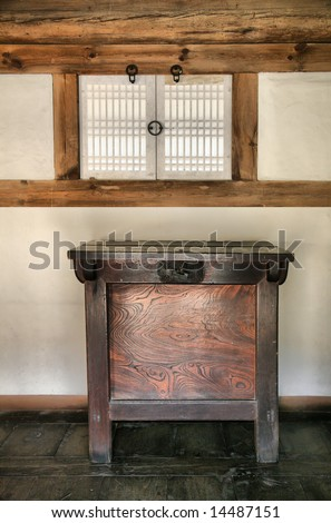 Ancient Wooden Cabinet in Oriental Paper Window and Wood Room