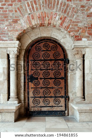 Ancient wooden door. Budapest, Hungary - stock photo