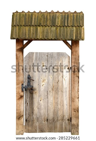 Ancient wooden door isolated on white - stock photo