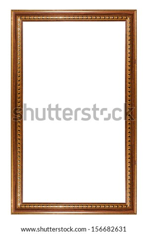 Ancient wooden frame isolated on white background.