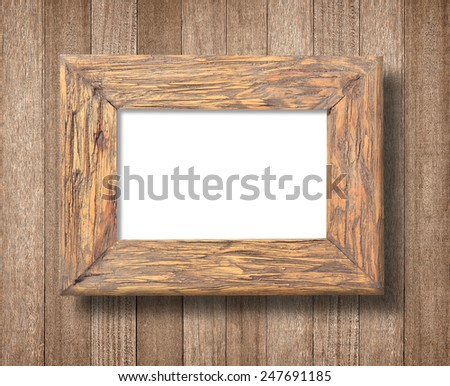 Ancient wooden frame on white background - stock photo