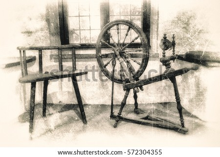 Ancient wooden spinning wheel and three legged chair in front of medieval  deep window niche, - Three Leg Chair Stock Images, Royalty-Free Images & Vectors