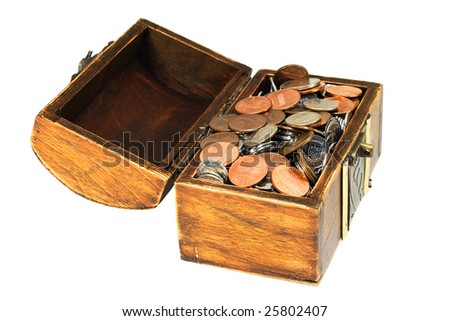 ancient wooden treasure chest full of coins isolated on white - stock photo