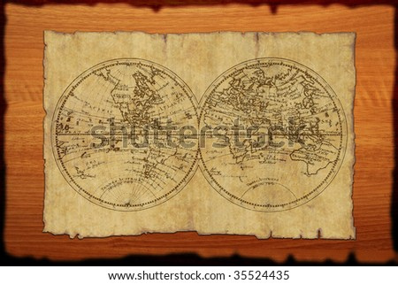 ancient World atlas on old paper - stock photo