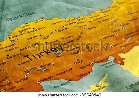 Ancient World Map of Turkey - stock photo