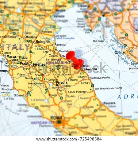 Ancona Pinned On Map Italy Stock Photo 725498584 Shutterstock