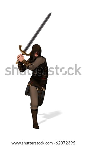 And armed warrior running into battle towards the camera (3D render) - stock photo
