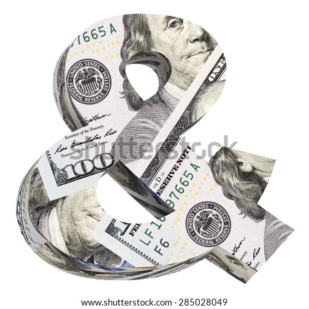 And sign from dollar bill alphabet set isolated over white. Computer generated 3D photo rendering. - stock photo