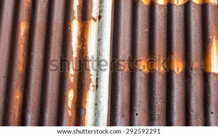and the old zinc rust  - stock photo