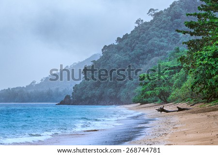 Andaman sea beach under rain, Samui, Thailand - stock photo
