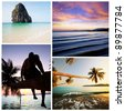 Andaman Sea in Thailand collage - stock photo