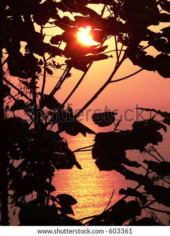 Andaman Sea sunset, Myanmar, Asia. - stock photo