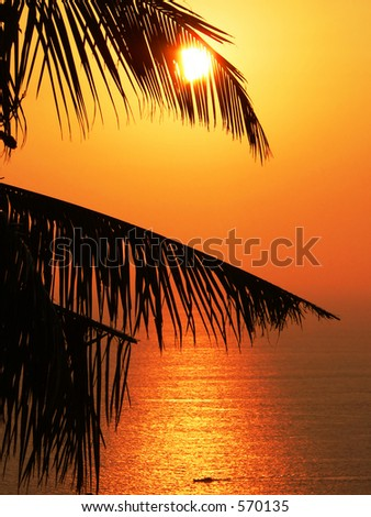 Andaman Sea sunset, Myanmar (Burma) Asia. - stock photo