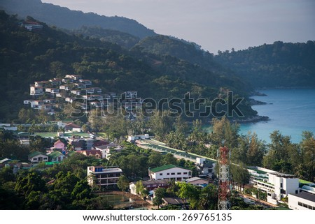 Andaman sea view from Hotel rooftop - stock photo