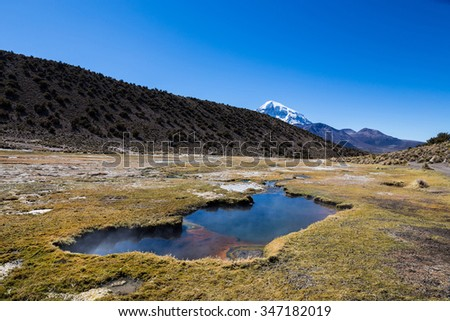 Andean geysers. Junthuma geysers, formed by geothermal activity. Bolivia. The thermal pools allow a healthy and medicinal bath for tourists - stock photo