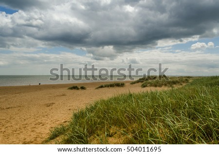 Anderby creek in Lincolnshire,deserted sandy beach and dunes