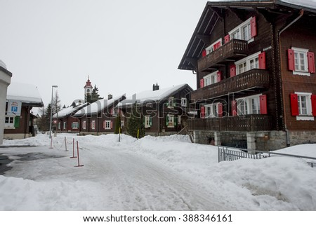 ANDERMATT, SWITZERLAND - FEBRUARY 23, 2016: Architecture of Andermatt