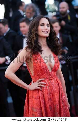 Andie MacDowell attends the 'Inside Out' Premiere during the 68th annual Cannes Film Festival on May 18, 2015 in Cannes, France. - stock photo