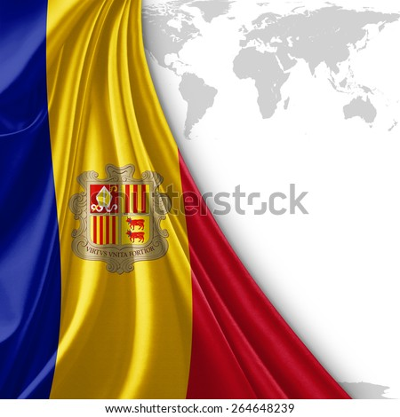 Andorra flag and world map background