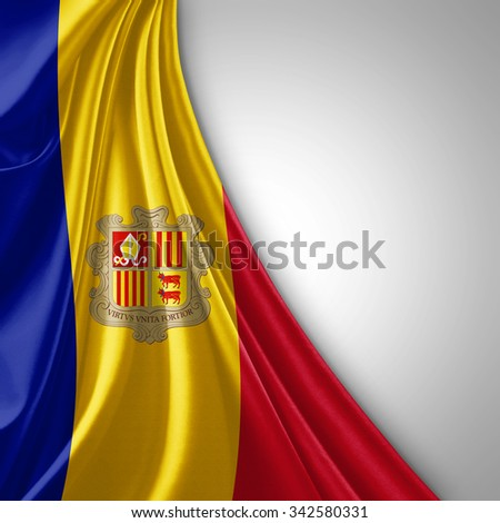 Andorra flag of silk  with copyspace for your text or images