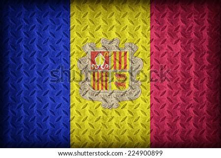 Andorra flag pattern on the diamond metal plate texture ,vintage style - stock photo
