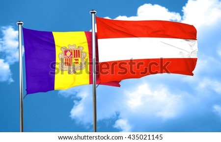 Andorra flag with Austria flag, 3D rendering