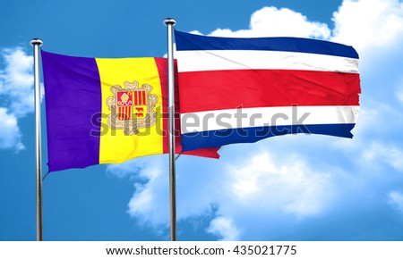 Andorra flag with Costa Rica flag, 3D rendering