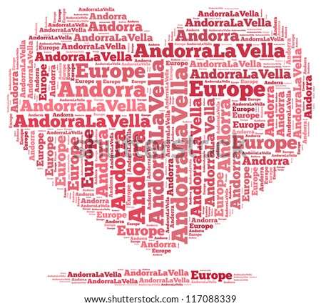 Andorra info-text graphics and arrangement concept on white background (word cloud)