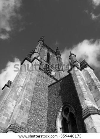Andover, High Street, Hampshire, England - January 07, 2016: Saint Marys Parish church, 19th century Victorian Gothic building, designed by architect Augustus Livesa - stock photo