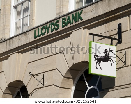 Andover, High Street, Hampshire, England - October 2, 2015: Lloyds local bank branch, British retail and commercial bank, originally founded in 1765 - stock photo