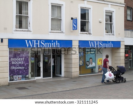 Andover, High Street, Hampshire, England - September 25, 2015: W H smiths, British retailer selling books, stationery, magazines, newspapers and entertainment products