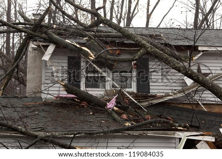 ANDOVER, NJ - OCT 30: A tree lays across the roof of a home after Hurricane Sandy made landfall in the northeast region of the US in Andover, New Jersey on October 30, 2012. - stock photo