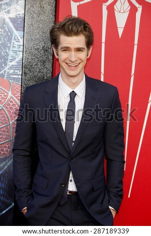 Andrew Garfield at the Los Angeles premiere of 'The Amazing Spider-Man' held at the Regency Village Theatre in Westwood on June 28, 2012.  - stock photo