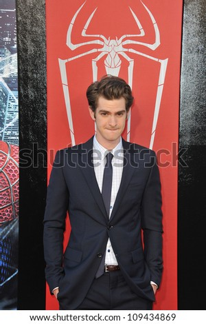"""Andrew Garfield at the world premiere of his movie """"The Amazing Spider-Man"""" at Regency Village Theatre, Westwood. June 29, 2012  Los Angeles, CA Picture: Paul Smith / Featureflash - stock photo"""