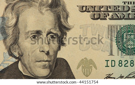 Andrew Jackson close up on a twenty dollar bill