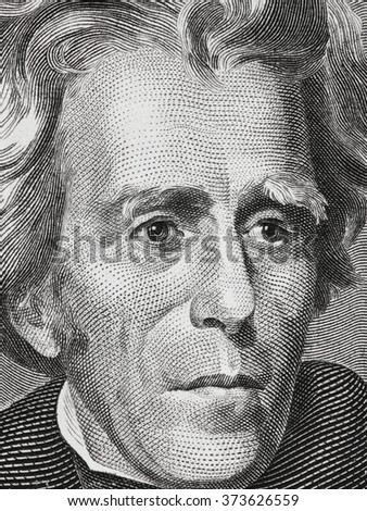 Andrew Jackson face on twenty dollar bill close up macro, 20 usd, united states money closeup