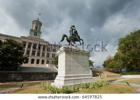 Andrew Jackson monument with State capitol on the background, Nashville, Tennessee - stock photo