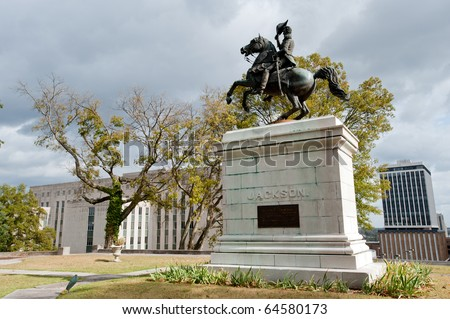 Andrew Jackson monument with Supreme court on the background, Nashville, Tennessee - stock photo