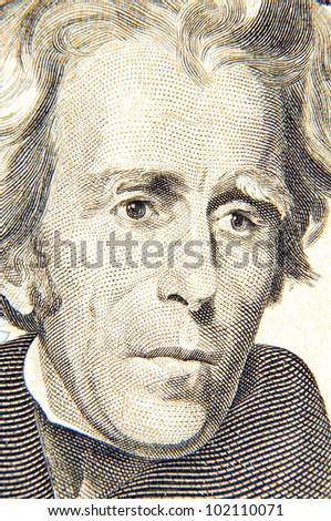 Andrew Jackson's twenty dollars portrait - stock photo