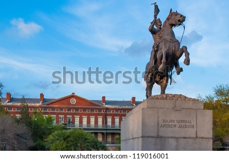 Andrew Jackson statue and Pontalba Apartments, New Orleans - stock photo