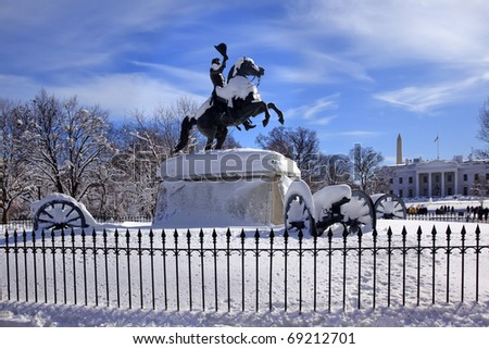 Andrew Jackson Statue Cannons President's Park Lafayette Square White House After Snow Washington DC 1850 Clark Mills Sculptor - stock photo