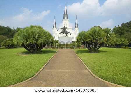 Andrew Jackson Statue & St. Louis Cathedral, Jackson Square in New Orleans, Louisiana - stock photo