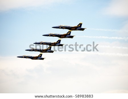 ANDREWS AFB, WASHINGTON DC- MAY 16: US Navy Demonstration Squadron Blue angels, flying on Boeing F/A-18 showing precision of flying on May 16, 2010 in Washington DC. - stock photo