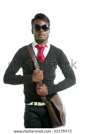 Androgynous look black african model fashion look - stock photo