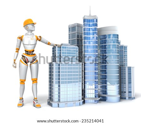 Android and office buildings on white background - stock photo