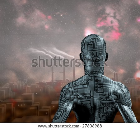 Android and Smog filled city - stock photo