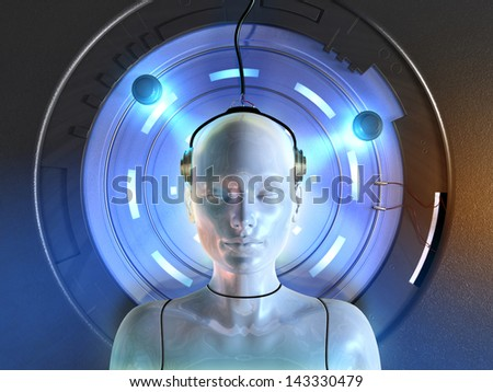 Android connected to some futuristic machinery. Digital illustration. - stock photo