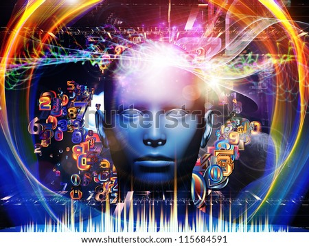 Android Dream series. Backdrop of  human model, numbers and design elements to complement your design on the subject of science, information and modern technology - stock photo