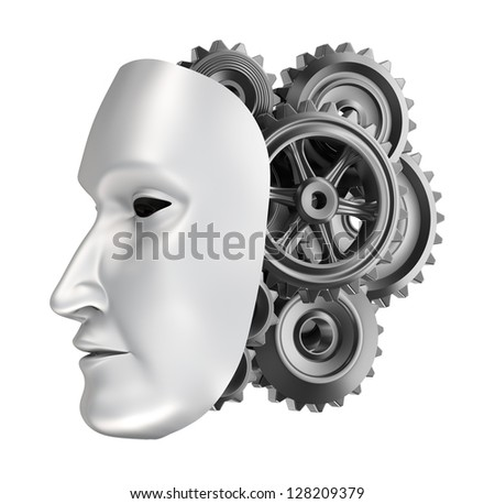 Android face - gear brains. - stock photo